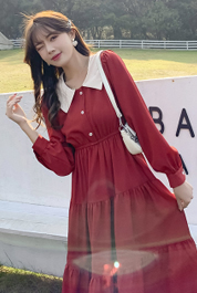 2021春款收腰显瘦气质茶歇法式红色打底裙娃娃领长袖连衣裙女秋冬