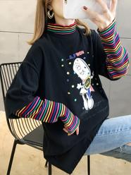 2020春装2070#实拍新款韩版时尚条纹长袖假两件套头半高领T恤女
