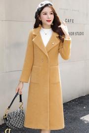实拍2352#黄金貂绒大衣女2019新款西装领显瘦气质秋冬中长款外套