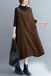 秋冬復古文藝中長款條絨背心裙2020寬松顯瘦大口袋燈芯絨背帶長裙