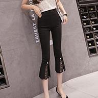 大图200斤胖MM夏季七分裤女显瘦外穿中裤蕾丝薄款弹力修身7分 裤