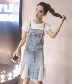 5711#实拍裙子女新款韩版套装裙两件套背带牛仔裙网纱拼接连衣裙