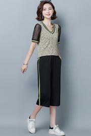 现货实拍小视频2019夏季新款时尚撞色V领短袖T恤七分裤休闲两件套