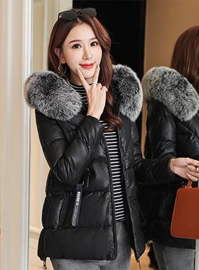 2019冬装新款女装棉服短款PU皮羽绒棉衣外套小个子韩版小棉袄修身