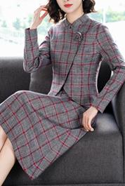 2020秋冬新款气质时尚套装裙女神洋气减龄复古格子显瘦西装两件套