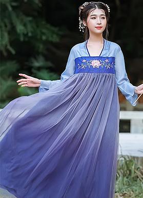 实拍现货8948#大码胖MM中国风渐变网纱刺绣长款汉服套头连衣裙