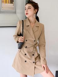 实拍秋冬2020新款法式收腰显瘦设计感小众双排扣气质西装连衣裙