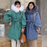 实拍 韩国东大门秋冬新款闺蜜棉服女宽松收腰内衬羊羔毛棉衣外套