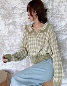 网红翻领复古格子上衣2020秋冬宽松长袖显瘦长袖套头外穿针织衫女