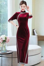 实拍老上海复古名媛旗袍少女长款丝绒中国风年轻款优雅气质连衣裙