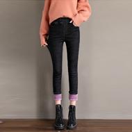 冬季加絨牛仔褲女高腰加厚保暖韓版彈力顯瘦外穿小腳褲子2020新款