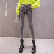 【實拍】【銷售價不得低于69元】黑色牛仔褲女長褲彈力小腳褲秋冬