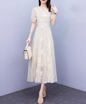 8988实拍#雪纺连衣裙女2021年夏新款圆领修身显瘦气质大摆长裙子
