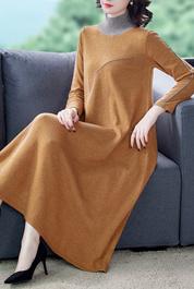 羊毛针织连衣裙子女秋冬2020新款半高领长袖显瘦毛衣裙过膝
