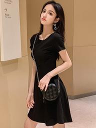 实拍 短袖连衣裙2019夏季女装赫本风法式复古裙山本显瘦气质a字裙
