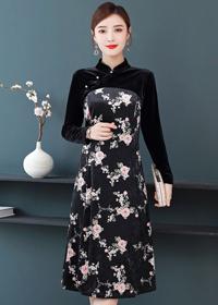 实拍长袖气质中国风改良旗袍碎花丝绒连衣裙秋装2019年新款裙子