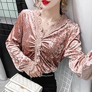 实拍#v领金丝绒衬衫女长袖设计感小众衬衣秋装2020年新款蕾丝上衣