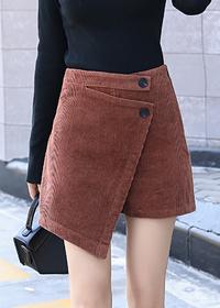 短裤女夏季2018新款高腰显瘦复古拼接双排扣灯芯绒假两件A字裙裤