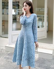 实拍2020春季新款修身显瘦气质女神名媛范小香风中长款蕾丝连衣裙