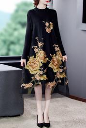 网纱重工刺绣连衣裙2020秋冬高贵洋气妈妈装民族风大码女装裙子