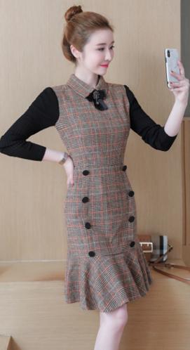 实拍:1864#秋冬贵夫人连衣裙2018新款中长款气质长袖毛呢裙子