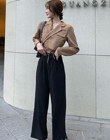 实拍现货~大码女装时尚韩版两件套胖mm短款显瘦小西装高腰阔腿裤