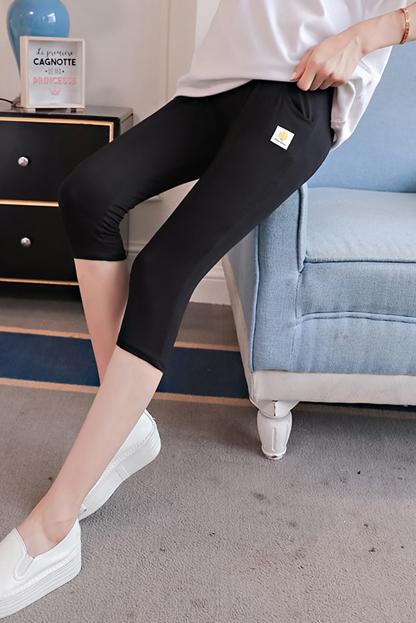 实拍 8001-7#莫代尔七分孕妇裤孕妇装高腰托腹可调节