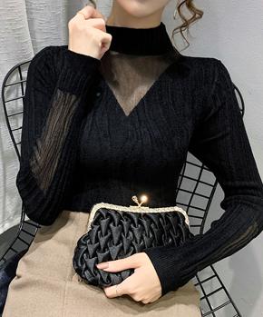 天鹅绒秋冬2021新款黑色内搭半高领蕾丝针织打底衫毛衣女士上衣