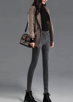 高腰牛仔裤女修身显瘦小脚裤2020年秋季新款韩版弹力紧身黑色裤子