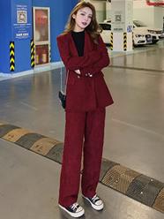 实拍现货936#2020复古chic酒红色灯芯绒气质西装套装长裤+外套女