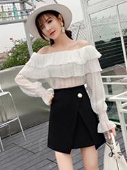 A字半身裙女2020春夏新款日式黑色短裙甜美仙女裙chic防走光短款