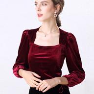 1996# (實拍) 新款絲絨復古時尚百搭方領打底衫女上衣T恤