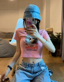 实拍2021春夏潮款BM风席卷韩日街头高腰瘦美经典卡通印花短T恤