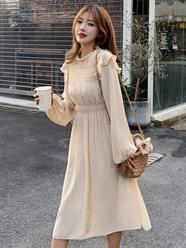 现货~2020秋装新款~实拍~法式气质荷叶边褶皱长袖打底连衣裙