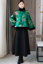 实拍2020冬季新款真丝香云纱加厚夹棉中式对襟上衣毛领外套