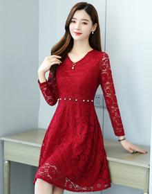实拍长袖连衣裙蕾丝大码女装新款秋装女中长款冬季加绒打底裙子潮