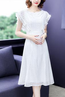 白色刺绣长裙气质收腰裙子显瘦中长款雪纺连衣裙女装2019新款夏装