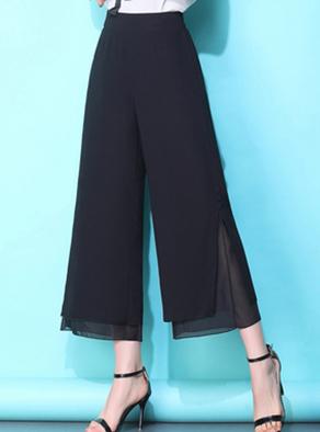 实拍垂感雪纺阔腿裤女夏季裤裙薄款宽腿裤高腰女裤宽松九分裤裙裤