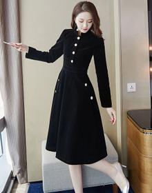 秋装2019年新款女高冷御姐风中长款金丝绒连衣裙成熟打底裙子冬季