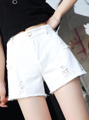破洞牛仔短裤女夏2019新款韩版高腰宽松显瘦白色阔腿热裤外穿