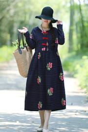 实拍2557#2019年春季新款提花刺绣民族风大码中长款连衣裙
