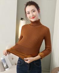 实拍秋冬新款高领毛衣女士加绒毛衣
