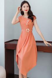 连衣裙女夏季2020新款轻熟风收腰显瘦气质洋气法式流行夏天长裙子
