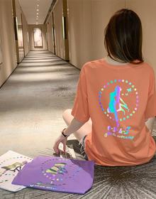 实拍 发光中长款t恤短袖网红心机上衣夏季仙女宽松半袖打底衫3267