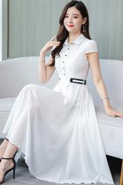 实拍2217#2019夏季短袖雪纺韩版修身常规女装通勤大码女装连衣裙