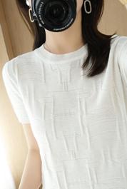 冰丝短袖t恤女夏季韩版新款宽松显瘦ins超火内搭针织打底衫上衣潮