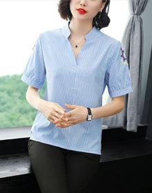 纯棉V领条纹短袖t恤女宽松短袖衬衣2020早春季妈妈打底衫棉麻上衣