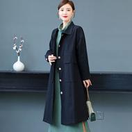 2020秋冬新款文艺范复古中长款气质苎麻纯色风衣外套女