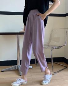 夏季2新款韩版高腰显瘦宽松垂感百搭不规则九分休闲直筒裤子女