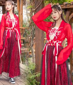 81042实拍彼岸花 曼珠沙华对襟齐腰上衣拼接半裙汉服表演服套装